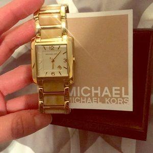 MICHAEL Michael Kors tan and gold watch
